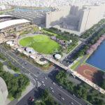"<span class=""title"">中央公園広場に建設されている新サッカースタジアムのイメージ図が公開!</span>"